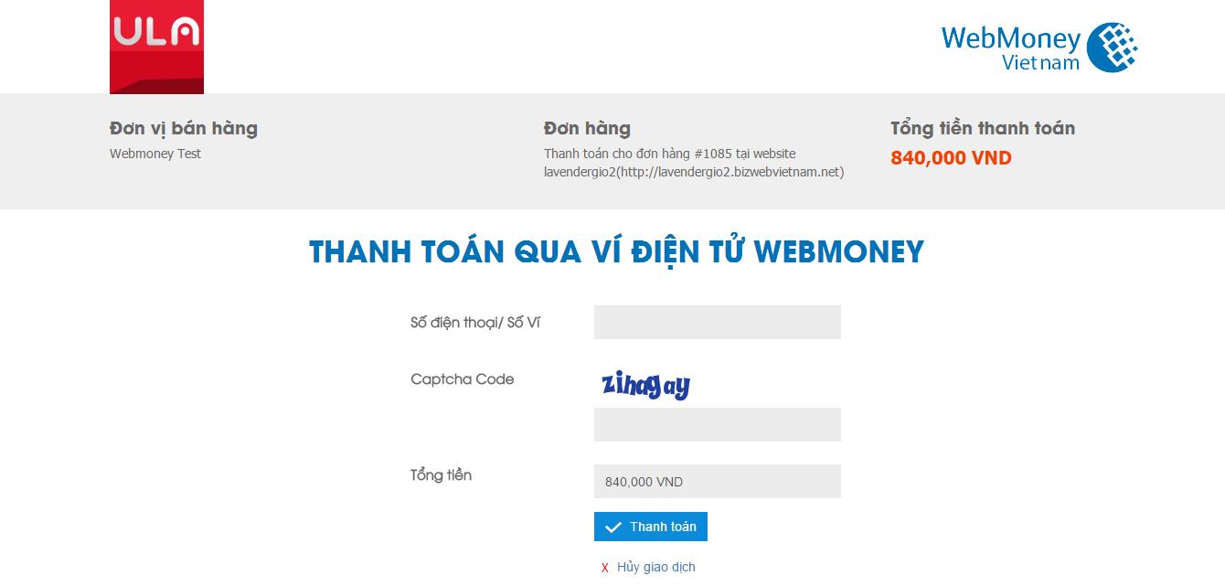 Tích hợp Cổng thanh toán Webmoney