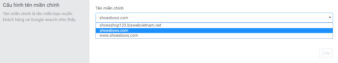 Domains select primary domain