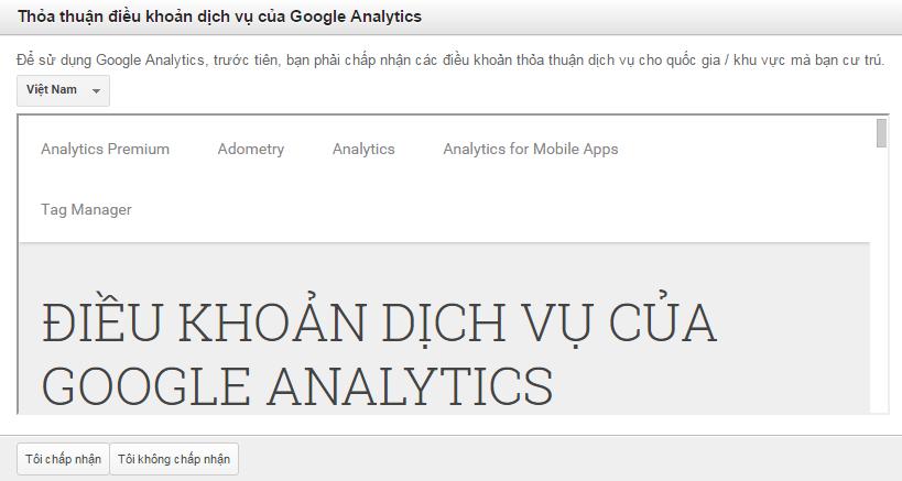 Kết quả hình ảnh cho Đồng ý với các điều kiện sử dụng của Google Analytics