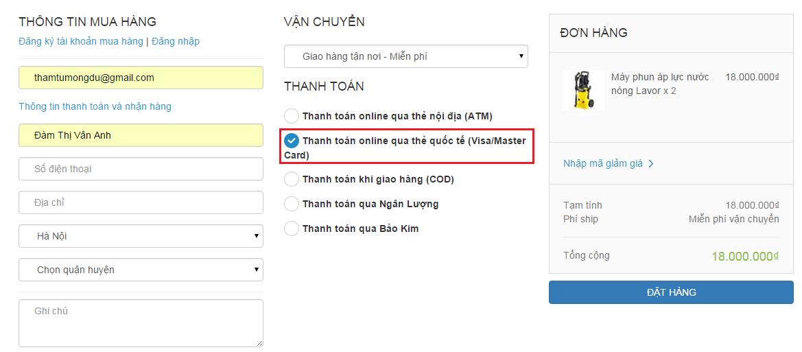 Tích hợp cổng thanh toán OnePay (Thẻ quốc tế)